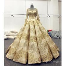 Gold shining long sleeve wedding dress bridal gowns 2017