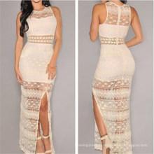 Sexy Womens Crochet Lace Long Evening Dress (50136)