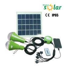 Alta calidad 12W Portable Kit de energía Solar con 3 Led bombillas