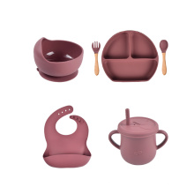 Bpa Fork And Spoon Training Tableware Bowl Nonslip Bibs Toddler Silicone Food Grade Divided Plate Baby Feeding Gift Set