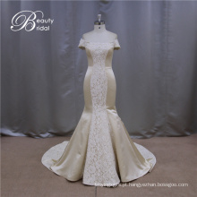 Alta qualidade do ombro barato champanhe vestidos de casamento