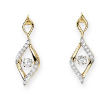 Gold Plate 925 Silver Stud Earrings Dancing Diamond Jewelry