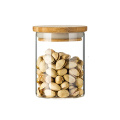 Hot selling 8 oz bamboo lid round glass storage cup jar