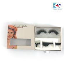 Chine usine logo personnalisé boîte faux cils boîte d'emballage avec fenêtre transparente