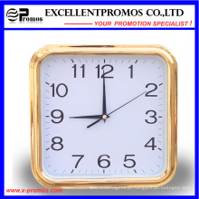 Gold Frame Logo impressão quadrada plástico relógio de parede (Item27)