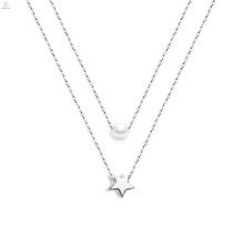Mulheres jóias estrela pérola prata pentagrama colar de pingente