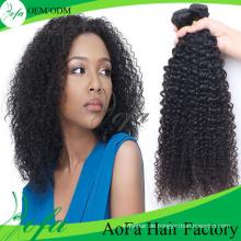 100% unverarbeitete reine mongolische lockiges Haar Remy Menschenhaarverlängerung