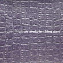 Cuero de semi-PU con respaldo de piel de cocodrilo (QDL-52084)