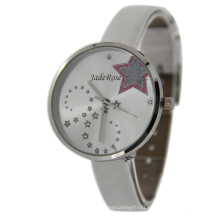 White Strap Charm Star Quartz Ladie Watch