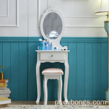 Wood One mirror white pink dresser table with stool