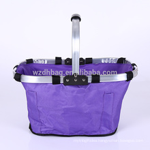 Reusable Large Family Size Polyester Oxford Folding Collapsible Basket Tote Bag For Lunch, Picnic