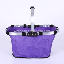 Grande poliéster reutilizável tamanho de família Oxford que dobra a sacola dobrável da cesta para o almoço, piquenique