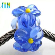 Estilo europeu pavimentar contas de vidro murano flor transparente para fazer pulseiras