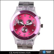 charming lady clock wrist watch, plastic watch box