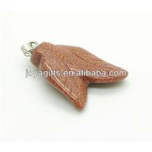 Vente en gros de pierres en or naturel pierre double pendentif en pierres pendentif en forme de pierre naturelle