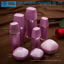 Fantástico bellas capas dobles del color cosmético de lujo transparente personalizable envase de acrílico