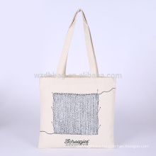 Reusable Printed Natural Color Grocery Canvas Cotton Promotion Tote Bag Shopping
