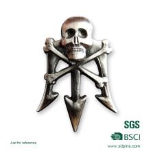 2016 neueste Metall Zink-legierung 3D Schädel Abzeichen für Förderung