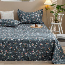 Factory Bed Sheet Set High Quality Wrinkle Free Single Gray Printed Bedding Set
