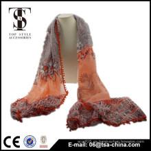 Bufanda larga de la bufanda de la bufanda del mantón de la borla de la impresión de las mujeres de la manera