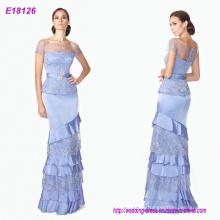 Vestido de noche de encaje azul de manga corta Princesa último vestido de noche de dama