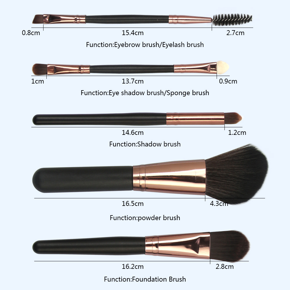 5 Pcs Wood Makeup Brushes Set size