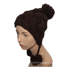 Fashion Custom Logo Winter Cap Lady Knitted Hat with Pompom