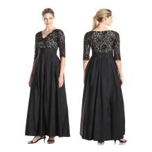 Premium-Polyester-Fabrik direkt verkaufen Mode Frauen Kurzarm bescheidenen Muster Casual schwarzen Spitzen Kleider