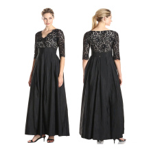Premium polyester factory directly selling fashion women short sleeve modest patterns Casual black lace Dresses