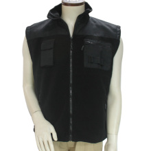 Stand Collar 100% Cotton Multi Pockets Polar Fleece Zipper Sleeveless Uniform Vest Men