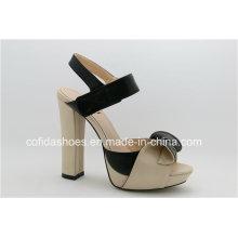 Moda Elegante Sandálias de couro de salto alto de salto alto