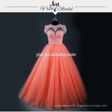 RSE605 Short Sleeve Venice Lace High Quality Cheap Coral Quinceanera Dresses Patterns