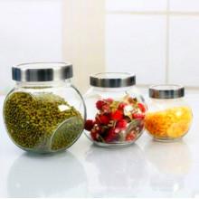 Frasco de vidro seco da fruta dos doces da categoria do alimento com tampa do selo