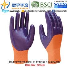 13Г полиэфира оболочки Нитрила 3/4 покрытием перчатки (N1503) гладкая поверхность с CE, ладони en388, En420, рабочие перчатки