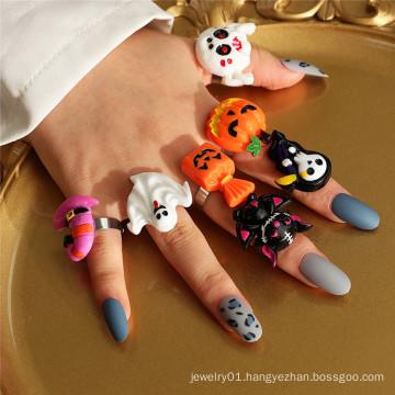 Punk Funny Ring Party Gift  Cartoon Grim Reaper Ghost Pumpkin Halloween Rings