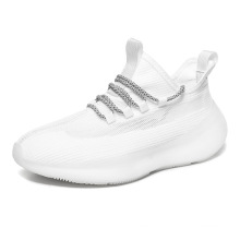 2021 new arrivals Flying woven breathable trendy sports platform running shoes white sneakers