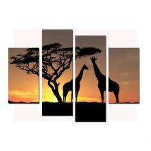 Moderne Sonnenuntergang Giraffe Malerei auf Künstler Leinwand für Hotel Dekor