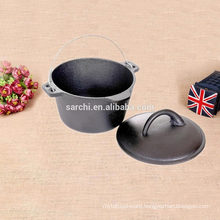 Outdoor camping Cast iron Cooking pot with lid
