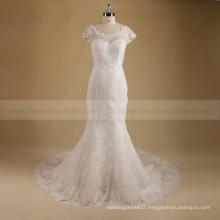 Elegant Scoop Neckline Mermaid Sexy See Through Back Beads & Lace Chapel Train Wedding Dress
