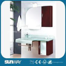 Bacia de vidro moderna com armário lateral de PVC Bacia de banheiro de vidro temperado