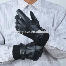 Gants authentiques en cuir noir moutons en cuir avec manchettes et sangles tricotées