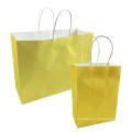 Festival-Geschenk-Kraft-Beutel-helle gelbe Einkaufstaschen DIY recyclebare Papiertüte mit Griffen