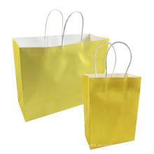 Bolsa de Kraft de regalo para el festival Bolsas de compras amarillas brillantes Bolsa de papel reciclable con asas