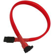 Ângulo reto de 7 pinos com manga vermelha e cabo reto SATA