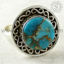 Incredible copper turquoise silver ring 925 sterling gemstone fashionable silver jewelry handmade jaipur