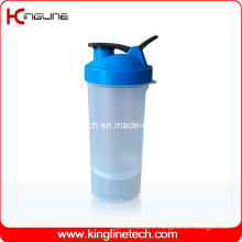 600ml Plastic Protein Shaker Bottle with 1 Container on Battom and Filter (KL-7004D)