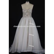 De alta calidad hecha a mano de cristal backless rebordear vestido de novia Condole vestidos de novia de tren de la correa