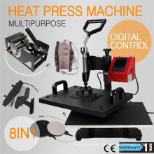 Hot Sale CE Approval Combo Heat Press Machine 8 in 1 for T Shirt Mug Cap