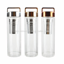 New Arrival Christmas Gift BPA Free Wide Mouth Loose Leaf Tea & Fruit Infuser Double Glass Bottle With Filter