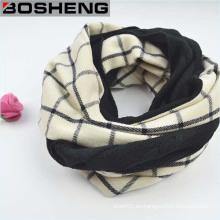 Blanco y negro Plaid lana tejiendo las mujeres invierno bufanda larga